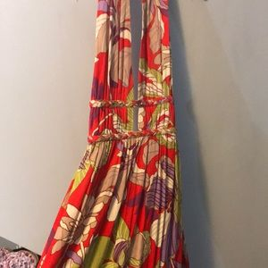 Gorgeous Red Floral Maxi dress with deep v detail